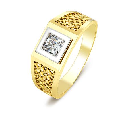 Фото«ZG-2029»Мужское кольцо из желтого золота с фианитом