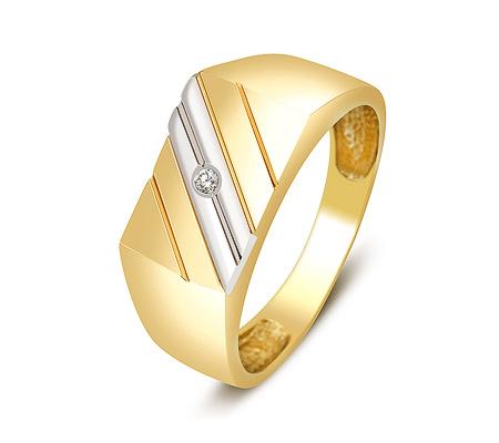 Фото«ZG-2031»Золотая мужская печатка с фианитом желтое золото