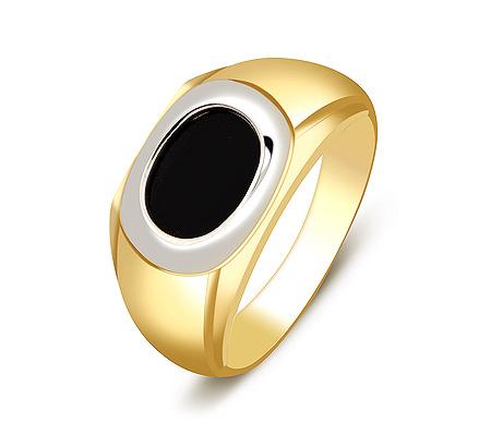 Фото«ZG-2033»Золотая мужская печатка с ониксом желтое золото