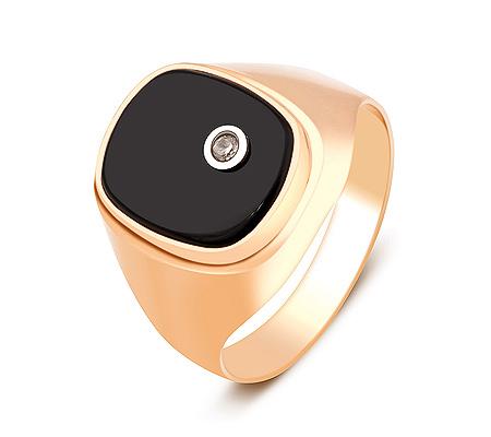 Фото«ZG-2038»Золотая печатка с ониксом и фианитом красное золото
