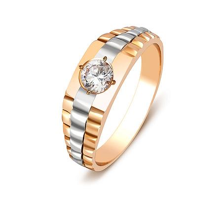 Фото«ZG-2041»Мужское кольцо из красного золота с фианитом