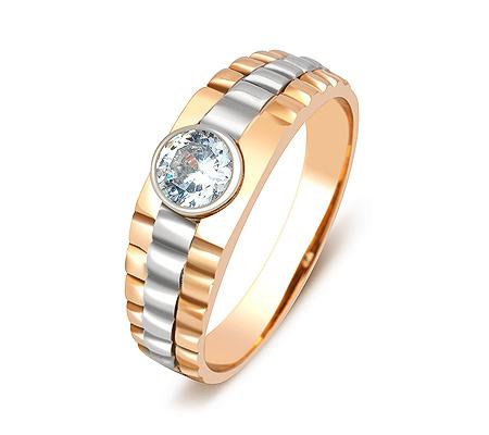 Фото«ZG-2045»Золотое мужское кольцо с фианитом в красном золоте