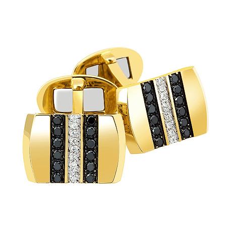 Фото«ZG-2305»Запонки из желтого золота с черными бриллиантами