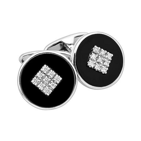 Фото«ZG-2306»Золотые запонки с ониксом и бриллиантами