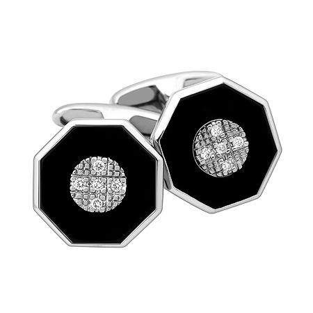 Фото«ZG-2307»Запонки с ониксом и бриллиантами белое золото