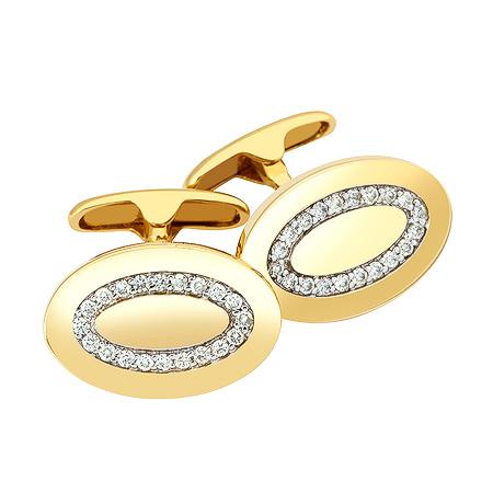 Фото«ZG-2308»Овальные запонки с бриллиантами желтое золото