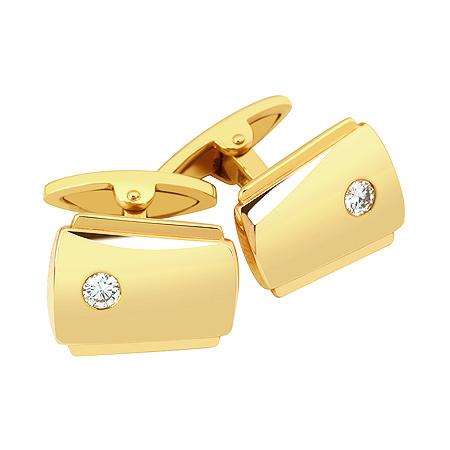 Фото«ZG-2309»Золотые запонки с бриллиантом желтое золото