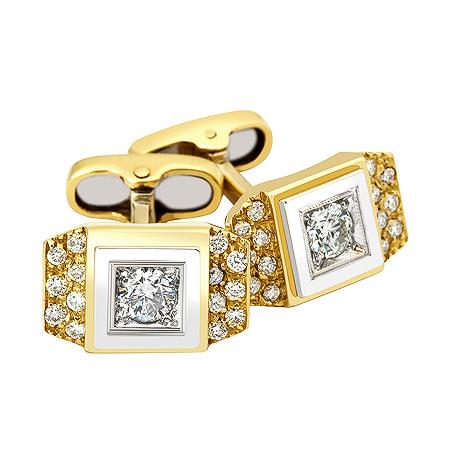 Фото«ZG-2320»Золотые запонки с бриллиантами в желтом и белом золоте