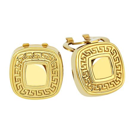 Фото«ZG-2338»Запонки из желтого золота с греческим орнаментом