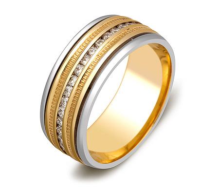 Фото«ZG-30001»Широкое обручальное кольцо из золота с бриллиантами