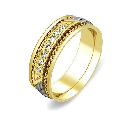 Фото«ZG-30002»Женское обручальное кольцо косичка с 7 бриллиантами
