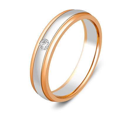 Фото«ZG-30005»Обручальное кольцо из золота с 1 бриллиантом