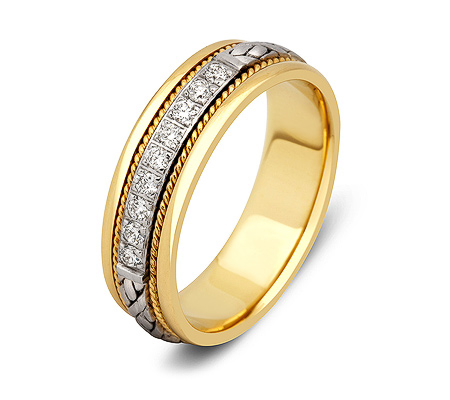 Фото«ZG-30007»Обручальное кольцо из золота с 9 бриллиантами