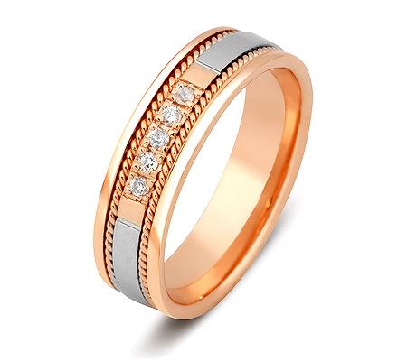 Фото«ZG-30008»Обручальное кольцо из золота с 5 бриллиантами
