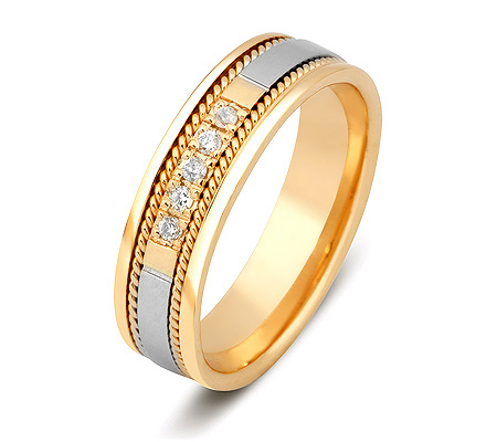 Фото«ZG-30009»Обручальное кольцо из желтого золота с 5 бриллиантами