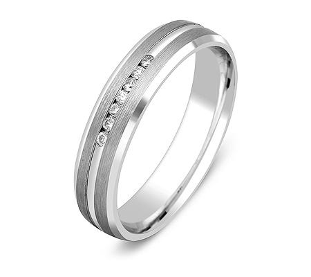 Фото«ZG-30011»Обручальное кольцо из белого золота с 7 бриллиантами