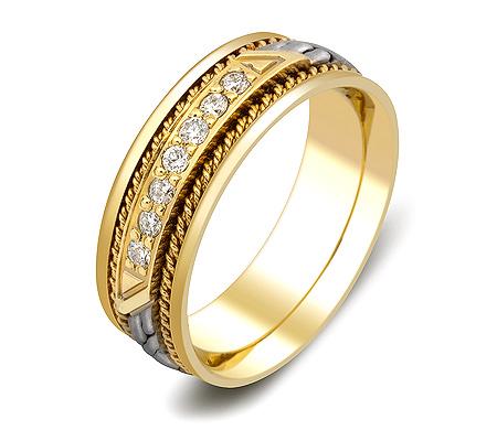 Фото«ZG-30012»Обручальное кольцо косичка из золота с 7 бриллиантами