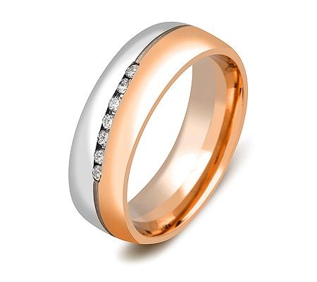 Фото«ZG-30014»Обручальное кольцо с бриллиантами двухцветное золото