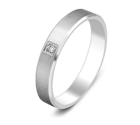 Фото«ZG-30015»Обручальное кольцо из белого золота с 1 бриллиантом