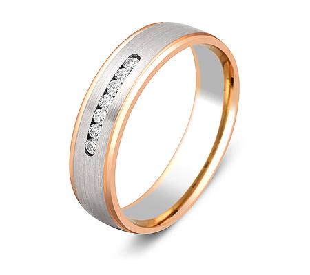 Фото«ZG-30016»Обручальное кольцо с 7 бриллиантами двухцветное золото