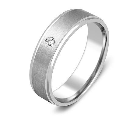 Фото«ZG-30017»Обручальное кольцо из белого золота с 1 бриллиантом
