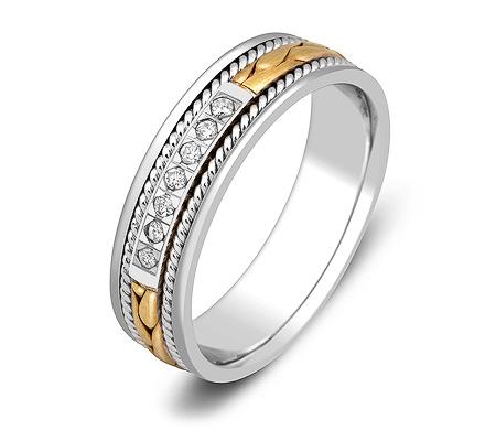 Фото«ZG-30018»Обручальное кольцо из двух цветов золота бриллианты