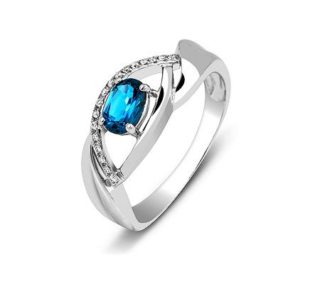 Фото«ZG-3002»Золотое кольцо с Топазом Лондон и бриллиантами