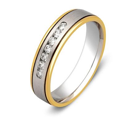 Фото«ZG-30020»Обручальное кольцо два золота с 7 бриллиантами