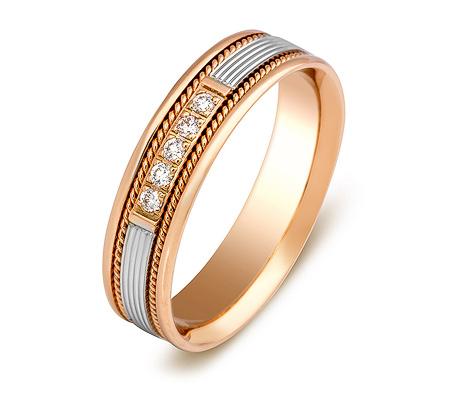 Фото«ZG-30022»Обручальное кольцо из красного золота с 5 бриллиантами