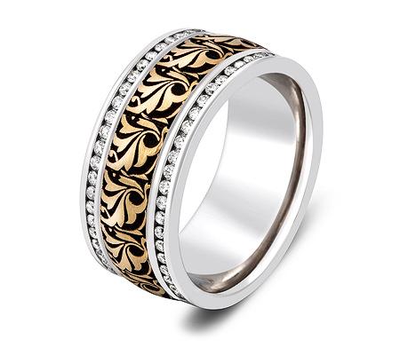 Фото«ZG-30025»Широкое обручальное кольцо из золота с бриллиантами