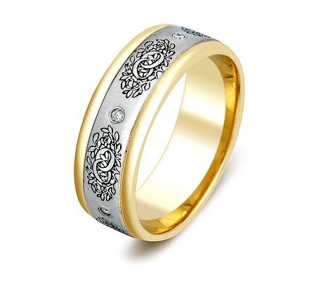 Фото«ZG-30026»Широкое обручальное кольцо из золота с бриллиантами