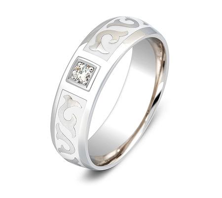 Фото«ZG-30027»Обручальное кольцо с бриллиантом и эмалью белое золото