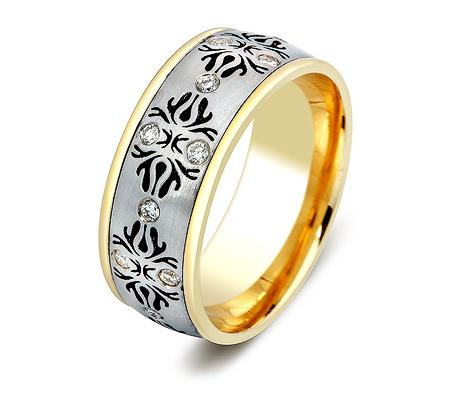 Фото«ZG-30028»Обручальное кольцо из золота с бриллиантами