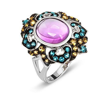 Фото«ZG-3007»Золотое кольцо с аметистом, топазами и цитринами