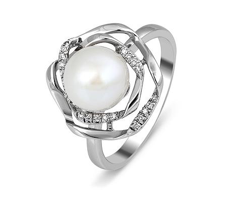 Фото«ZG-3010»Кольцо из белого золота с жемчугом и бриллиантами