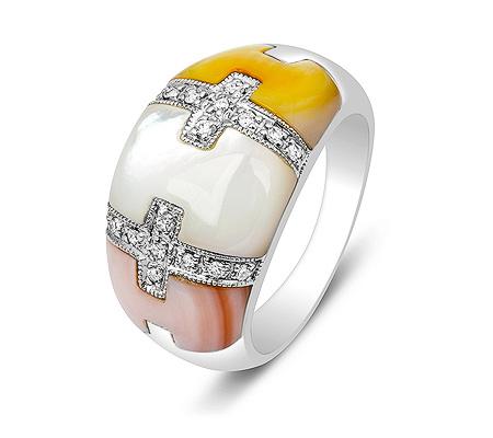 Фото«ZG-3014»Кольцо из белого золота с перламутром и бриллиантами