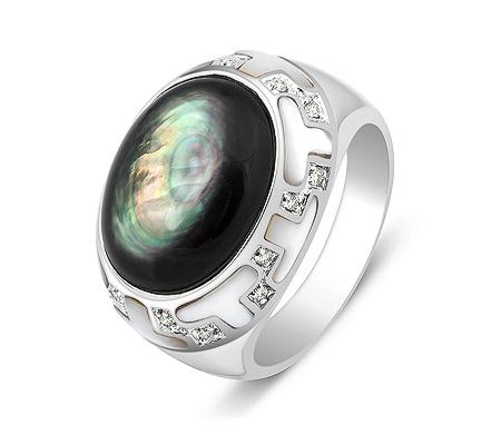 Фото«ZG-3015»Перстень из белого золота с перламутром и бриллиантами