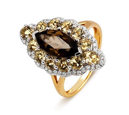 Фото«ZG-3016»Золотое кольцо с раухтопазом и бриллиантами