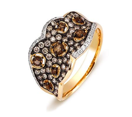 Фото«ZG-3017»Кольцо из желтого золота с раухтопазами и бриллиантами