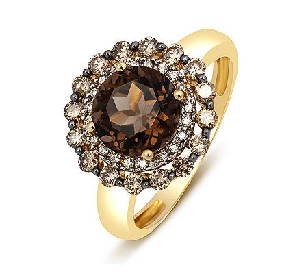 Фото«ZG-3018»Кольцо из желтого золота с раухтопазом и бриллиантами