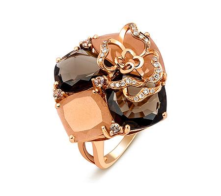 Фото«ZG-3019»Кольцо с раухтопазами, лунным камнем, бриллиантами