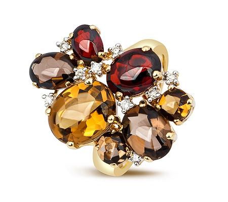 Фото«ZG-3020»Золотое кольцо с цитринами, гранатами и бриллиантами