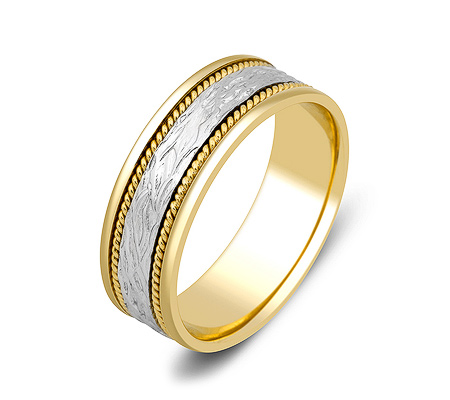 Фото«ZG-50007»Широкое обручальное кольцо из желтого и белого золота