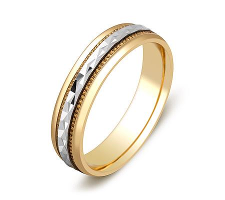 Фото«ZG-50009»Обручальное кольцо из желтого и белого золота