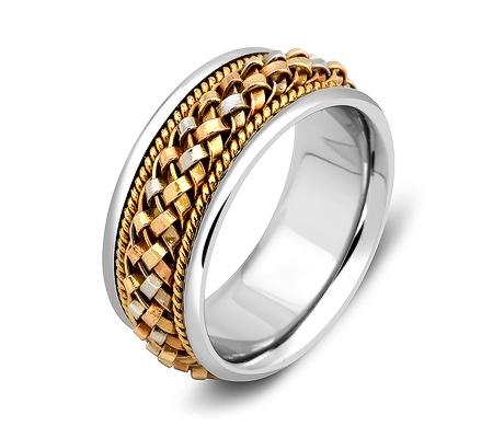 Фото«ZG-50012»Дизайнерское обручальное кольцо из трехцветного золота