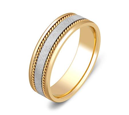 Фото«ZG-50014»Оригинальное обручальное кольцо двухцветное золото
