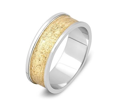 Фото«ZG-50015»Оригинальное обручальное кольцо двухцветное золото