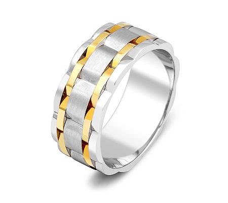 Фото«ZG-50024»Обручальное кольцо из белого и желтого золота