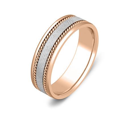 Фото«ZG-50025»Обручальное кольцо из красного и белого золота