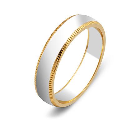 Фото«ZG-50027»Обручальное кольцо из белого и желтого золота